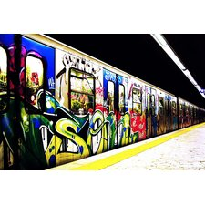 <strong>iCanvasArt</strong> Train Graffiti Canvas Wall Art