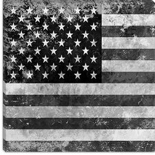 <strong>iCanvasArt</strong> U.S. Flag, Grunge, Gray/White Canvas Wall Art