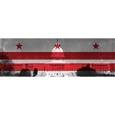 <strong>iCanvasArt</strong> Washington, D.C, Flag, Capitol Building Panoramic Canvas Wall Art