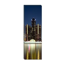 <strong>iCanvasArt</strong> Skyscrapers Lit up at Dusk, Renaissance Center, Detroit River, Detroit, Michigan Canvas Wall Art