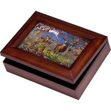 Wildlife Digital Deer in Woods Music Jewelry Box