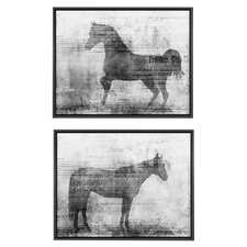 Cottage Equine Expectations and Freedom by Ken Roko 2 Piece Framed Graphic Art Set in Black and White