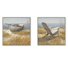Shoreline Chair and Shoreline Boat by Arnie Fisk 2 Piece Framed Painting Print Set