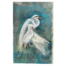Egret Pair Indoor by Anthony Marrow Painting Prints on Canvas