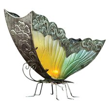 <strong>Cape Craftsmen</strong> Bohemian Rhapsody Glass and Metal Butterfly Table Lamp