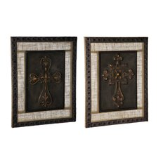 2 Piece Crosses on Burlap Wall Décor Set