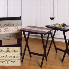 <strong>Cape Craftsmen</strong> Buon Appetito TV Tray with Stand (Set of 4)