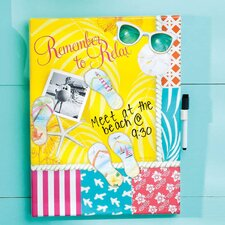 Coastal Delights Calypso Summer Dry Erase Canvas Wall Art Memo Board with 4 Magnets