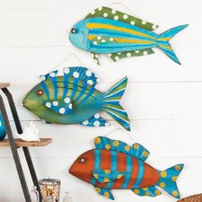Coastal Delights 3D Metal Fish Wall Decor (Set of 3)