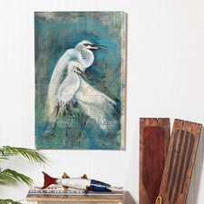 Egret Pair Indoor by Anthony Morrow Painting Print on Canvas