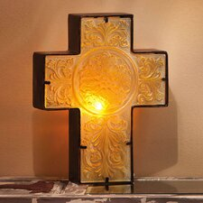 Embossed and Hand Painted Glass and Metal Cross Table Lamp