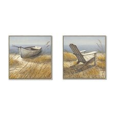Shoreline Chair and Shoreline Boat Framed Canvas Art (Set of 2)