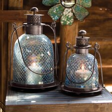 2 Piece Bohemian Rhapsody Glass Mosaic Lantern Set