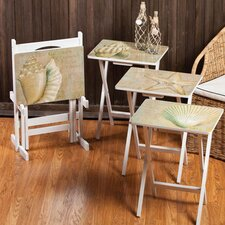 Coastal Chic A La Plage TV Tray with Stand (Set of 4)