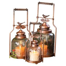 3 Piece Nested Bird Lantern Set