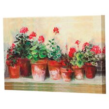 Outdoor Kathleen's Geraniums by Carol Rowan Painting Prints on Canvas