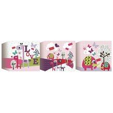 <strong>Lemon Ribbon</strong> Animal Sanctuary Canvas Blocks (Set of 3)