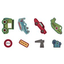 Transportation 24 Piece Mini Foam Elements Wall Stickers