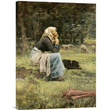 'A Young Shepherdess' by Pierre Billet Painting Print on Canvas