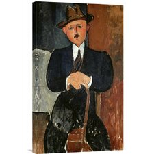 'Seated Man (Leaning on a Cane)' by Amedeo Modigliani Painting Print on Canvas