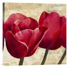 'Red Tulips' by Cynthia Ann Painting Print on Canvas