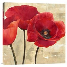 'Red Poppies' by Cynthia Ann Painting Print on Canvas