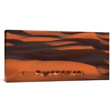 'Camels Crossing Amber Dunes, Mauritania' by Yann Arthus-Bertrand Photographic Print on Canvas