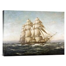 'U.S.S. Constitution' by Myron Clark Painting Print on Canvas