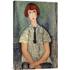 'Young Girl in a Striped Shirt' by Amedeo Modigliani Painting Print on Canvas