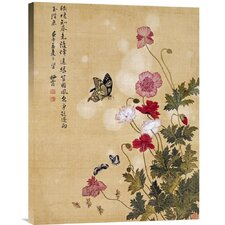 'Corn Poppy and Butterflies' by Ma Yuanyu Painting Print on Canvas