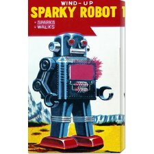 <strong>Bentley Global Arts</strong> 'Sparky Robot' by Retrobot Stretched Canvas Art