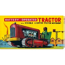 'Battery Operated Tractor' by Retrobot Stretched Canvas Art