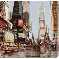 'Taxi in Times Square' by John B. Mannarini Painting Print on Canvas