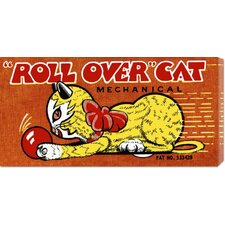 'Roll Over Cat' by Retrobot Stretched Canvas Art