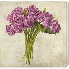 'Bouquet de Roses' by Leonardo Sanna Painting Print on Canvas
