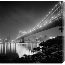 'Manhattan Bridge by Night' by Philippe Levy-Stab Photographic Print on Canvas
