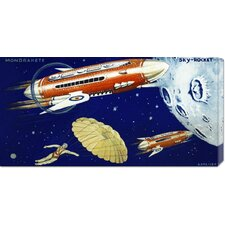 <strong>Bentley Global Arts</strong> 'Mondrakete  Sky-Rocket' by Retrorocket Stretched Canvas Art