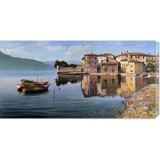 <strong>Bentley Global Arts</strong> 'Paese Sul Lago' by Adriano Galasso Stretched Canvas Art