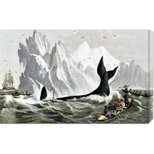 'Capturing The Whale' by Currier and Ives Stretched Canvas Art