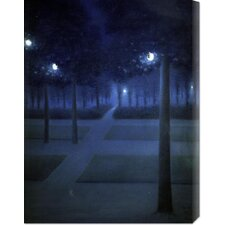 'Night In The Park Royal, Brussels' by William Degouve de Nuncques Painting Print on Canvas