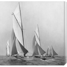 'Sailboats Sailing Downwind, 1920' by Edwin Levick Stretched Canvas Art