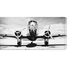 'Passenger Airplane on Runway' by Philip Gendreau Stretched Canvas Art