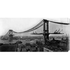 'Manhattan Bridge Under Construction' by Irving Underhill Stretched Canvas Art