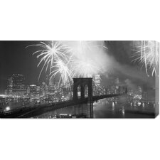 Unknown 'Fireworks over the Brooklyn Bridge' Stretched Canvas Art