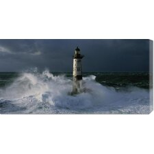 <strong>Bentley Global Arts</strong> 'Phare d'Ar-Men lors d'une Tempete' by Jean Guichard Stretched Canvas Art