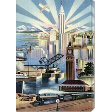 <strong>Bentley Global Arts</strong> 'Modern Deco Empire' by Retro Travel Stretched Canvas Art