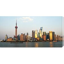 <strong>Bentley Global Arts</strong> 'Shanghai Skyline' by Xiaoyang Liu Stretched Canvas Art