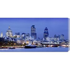 <strong>Bentley Global Arts</strong> Unknown 'River Thames and London Cityscape at Dusk' Stretched Canvas Art