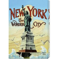 'New York; The Wonder City' by Retro Travel Stretched Canvas Art