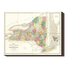 <strong>Bentley Global Arts</strong> 'Map of New York, 1839' by David H. Burr Stretched Canvas Art